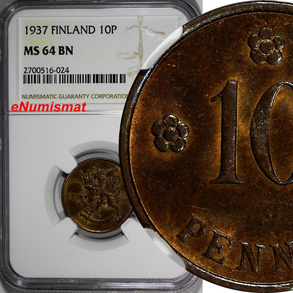 Finland Copper 1937 10 Pennia NGC MS64 BN TOP GRADED BY NGC KM# 24