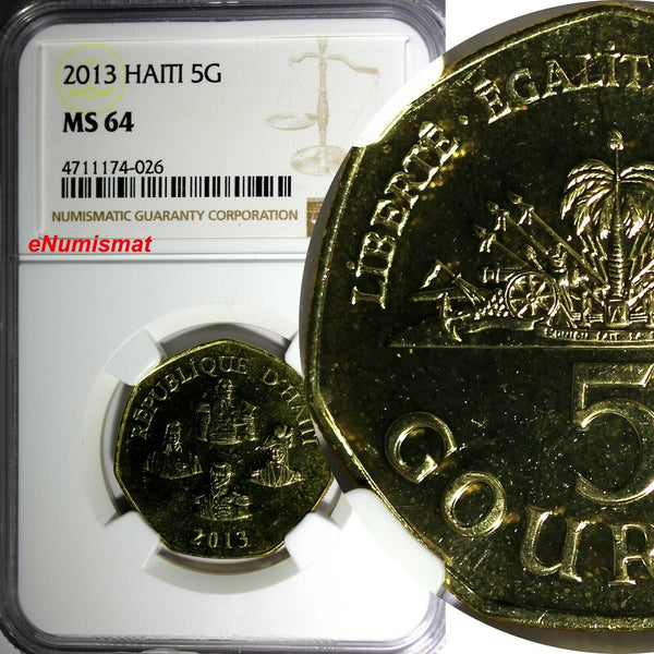 Haiti 2013 5 Gourdes Haitian statesmen NGC MS64 Heptagon TOP GRADED COIN KM# 156
