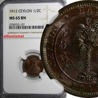CEYLON George V 1912 1/2 Cent NGC MS65 BN Cherry Toned TOP GRADED KM# 106 (127)