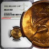 Ireland Republic Bronze 1953 Farthing NGC MS65 FULL RED 1 GRADED HIGHEST KM# 9