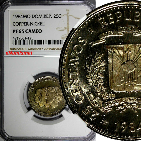 DOMINICAN REPUBLIC PROOF 1984 MO 25 Centavos NGC PF65 CAMEO TOP GRADED KM# 61.1