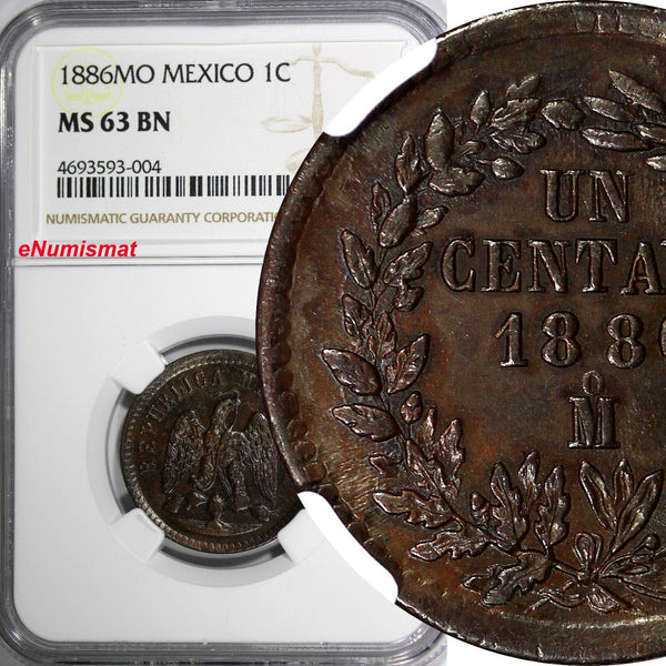 Mexico SECOND REPUB.Copper 1886 Mo 1 Centavo NGC MS63 BN SCARCE OVERDATE KM391.6