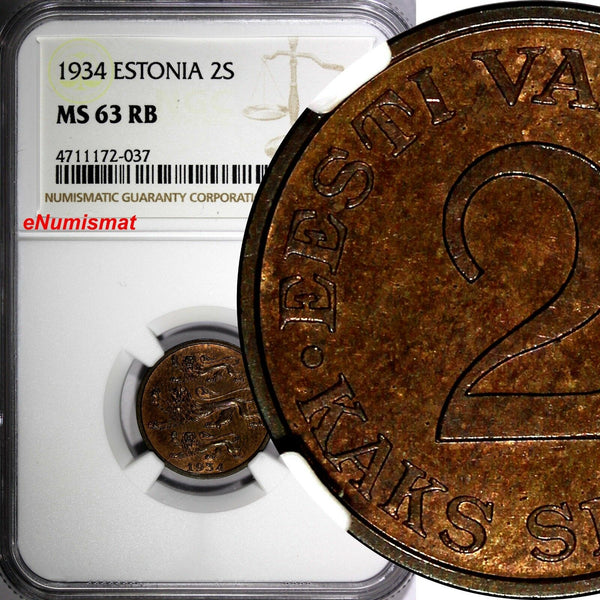ESTONIA Bronze 1934 2 Senti NGC MS63 RB 1 YEAR TYPE NICE TONED KM# 15
