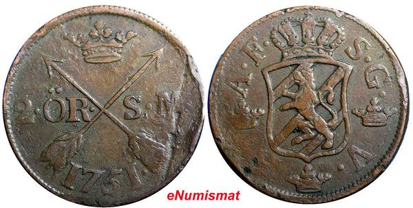 SWEDEN COPPER Adolf Frederick 1751 2 Ore,S.M Low Mintage:353,000 SCARCE KM#461