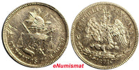 Mexico Silver 1871 Zs H  25 Centavos Low Mintage - 250,000  KM# 406.9