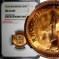 Rhodesia Bronze 1970 1 Cent NGC MS64 RD FULL RED KM# 10