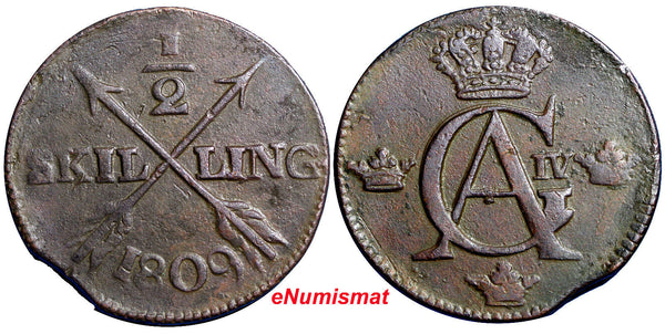 SWEDEN COPPER Gustaf IV Adolf  1809 1/2 SKILLING    KM#565