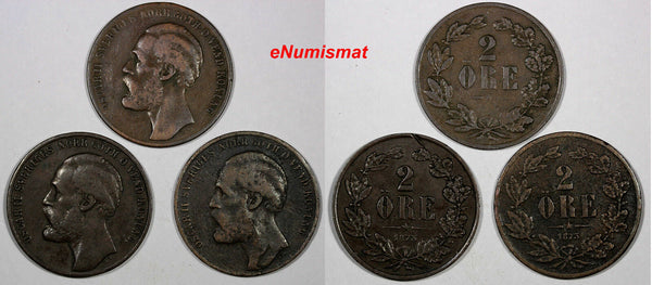 Sweden Oscar II Bronze LOT OF 3 COINS 1873 L.A. 2 Ore  VF KM# 729