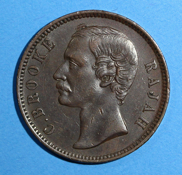 SARAWAK Copper Charles J. Brooke 1886  Cent  Choice XF Condition KM# 6