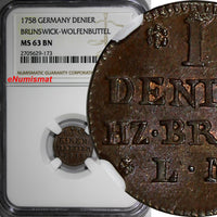German States BRUNSWICK-WOLFENBÜTTEL Karl Copper 1758 Denier NGC MS63 BN KM# 948