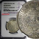 Bolivia Silver 1909-H 50 Centavos,1/2 Boliviano NGC AU DETAILS 1 YEAR TYPE KM177