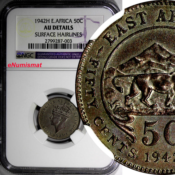 East Africa British Colony George VI Silver1942 H 50 Cents NGC AU DETAILS KM# 27