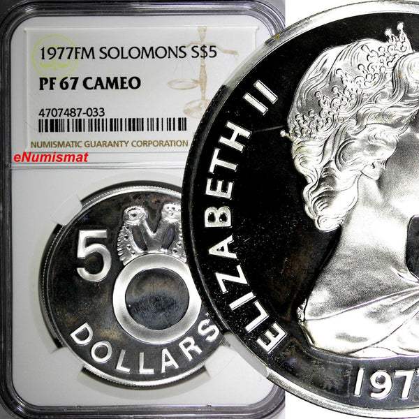 Solomon Islands Silver PROOF 1977 FM 5 Dollars NGC PF67 CAMEO Mintage-15,000 KM7