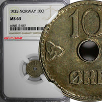 Norway Haakon VII 1925 10 Ore NGC MS63 BETTER DATE 1 GRADED HIGHER  KM# 383