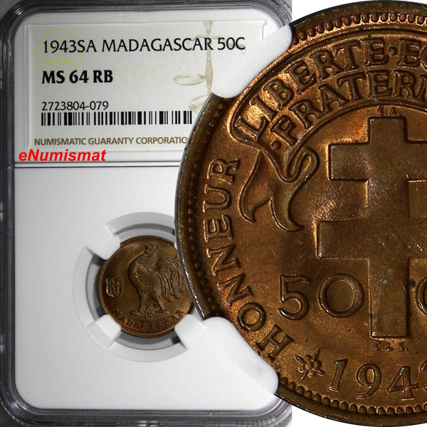 Madagascar French Colony 1943-SA 50 Centimes NGC MS64 RB Rooster Pretoria KM# 1