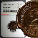 LATVIA Bronze 1939 2 Santimi NGC MS63 RB 1 YEAR TYPE Mint Luster KM# 11.2