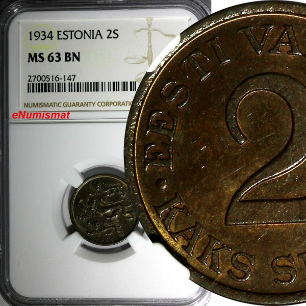 ESTONIA Bronze 1934 2 Senti NGC MS63 BN 1 YEAR TYPE NICE TONED KM# 15