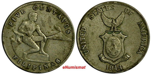 Philippines U.S. Administration Copper-Nickel 1944 S 5 Centavos KM# 180a