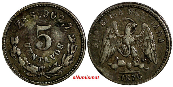 MEXICO Silver 1876 ZS S 5 Centavos VERY RARE KEY DATE Zacatecas Mint KM# 398.10