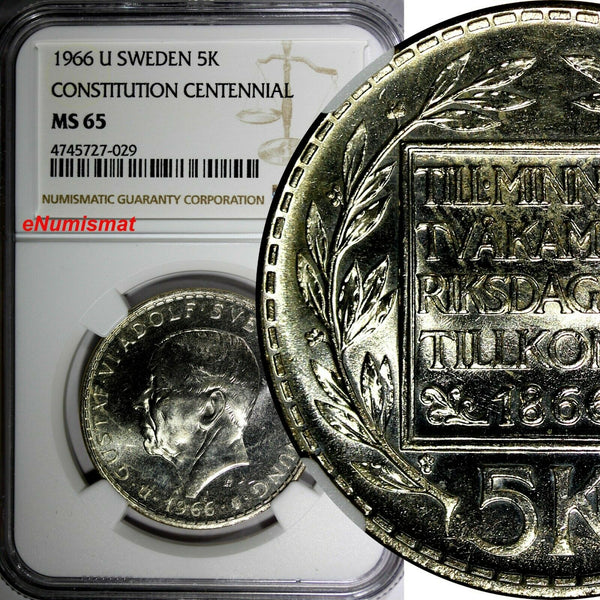 SWEDEN Silver 1966-U 5 Kronor NGC MS65 Constitution Reform 1 YEAR TYPE KM# 839
