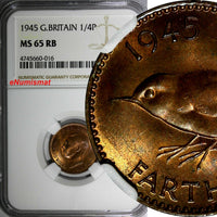 Great Britain George VI Bronze 1945 Farthing NGC MS65 RB RED TONING KM# 843
