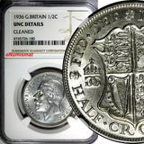 Great Britain George V Silver 1936 1/2 Crown NGC UNC DET. LAST YEAR TYPE KM# 835