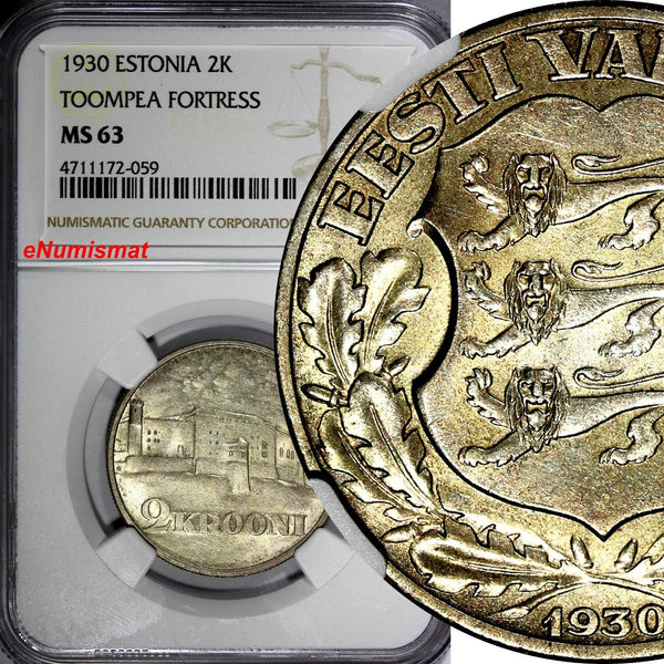 ESTONIA Silver 1930 2 Krooni NGC MS63 Toompea Fortress at Tallinn 1 YEAR KM# 20