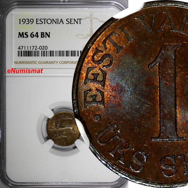ESTONIA Bronze 1939 1 Sent NGC MS64 BN  1 YEAR TYPE Thick Planchet KM# 19.1
