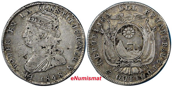 Ecuador Silver 1848/7 GJ  QUITO 2 Reales Scarce Over-Date XF Condition KM# 33