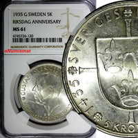 SWEDEN Silver 1935 5 Kronor NGC MS61  500th Anniversary of Riksdag KM# 806