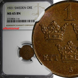 SWEDEN Gustaf V Bronze 1921 1 ORE NGC MS65 BN TOP GRADED BY  NGC KM# 777.2
