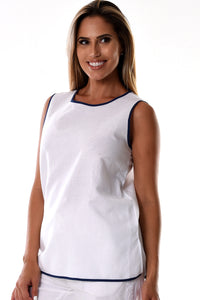 Azucar Ladies Linen Sleeveless With Contrast Trims Blouse Top (2) Colors - Llb1085