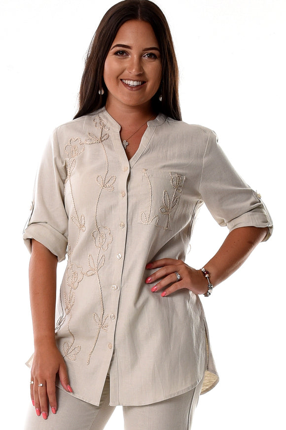 Azucar Linen Embroidered 3/4 Roll-Up Sleeve Tunic Blouse Top In (2) Colors - Llb1086
