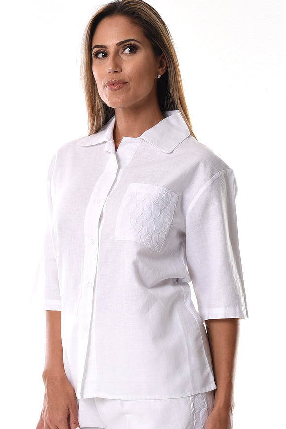 AZUCAR LADIES LINEN 3/4 SLEEVE WITH LACED POCKET BLOUSE IN (2) COLORS - LLB1090