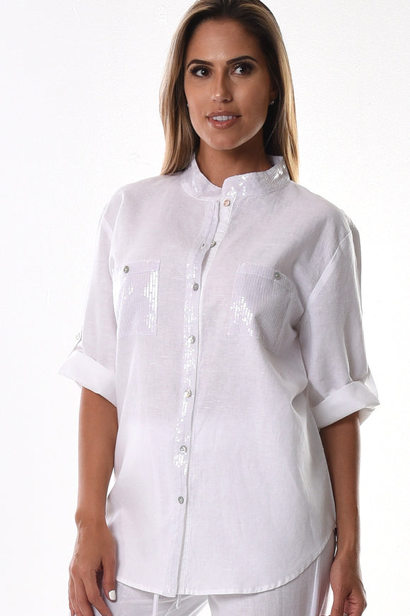 AZUCAR LADIES LINEN ROLL-UP SLEEVE W/SEQUIN COLLAR & POCKETS BLOUSE IN (2) COLORS - LLB1092