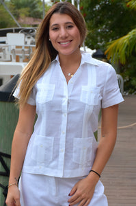 Azucar Ladies Guayabera - Chacavana Blouse - Short Sleeve - 4 Pockets In (3) Colors - Llgb1080