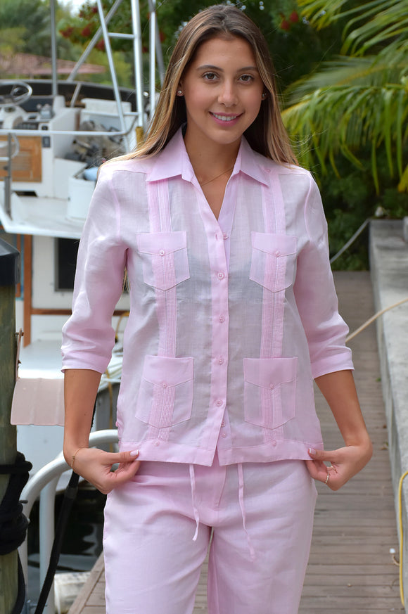 AZUCAR LADIES GUAYABERA - CHACAVANA BLOUSE - 3/4 SLEEVE - 4 POCKETS IN (3) COLORS - LLGB1081