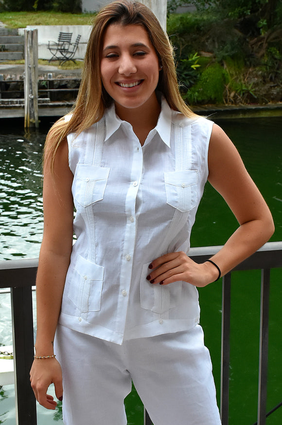 Azucar Ladies Guayabera - Chacavana Blouse - Sleeveless - 4 Pockets In (3) Colors - Llgb1082