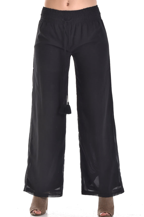 Azucar Ladies Black Drawstring Elastic Waist Band With Tassel Pants - Lpp879