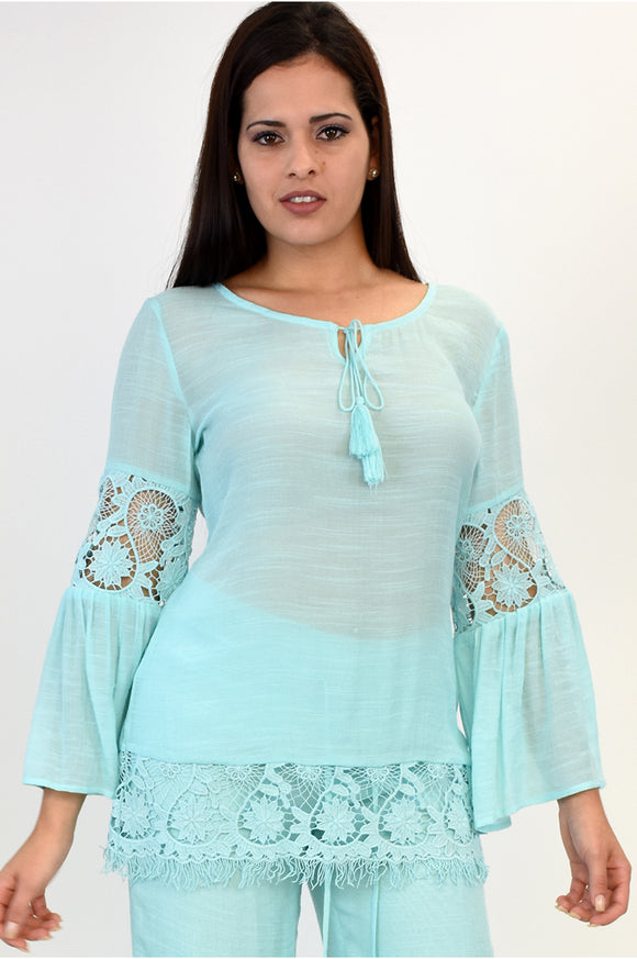 Azucar Ladies Laced 3/4 Tunic Blouse Top LRPB134
