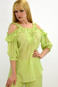 Azucar Ladies Cold Shoulder Crochet Lace Blouse - LRPB300