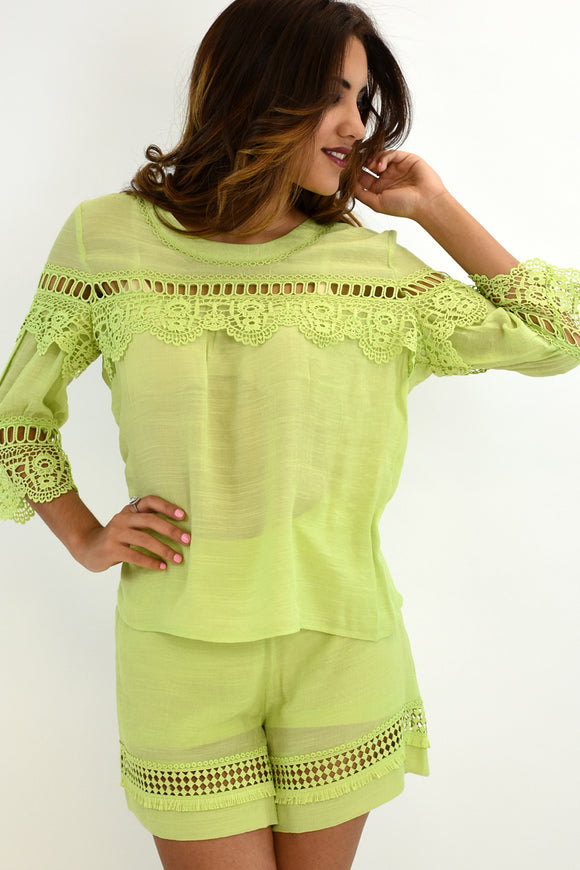 Azucar Ladies Crochet & Lace 3/4 Sleeve Blouse - LRPB304