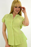 Azucar Ladies Pin-Tucked Short Sleeve Blouse - LRPB307