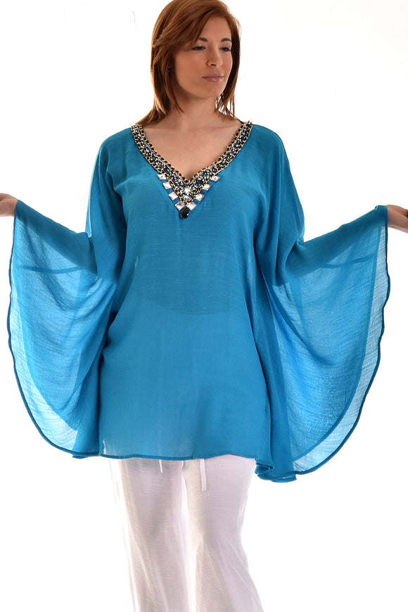 Ladies Azucar Rayon Beaded Collar Tunic - LRPB562