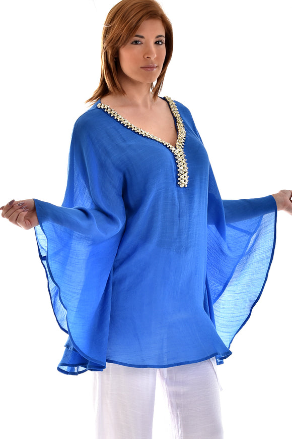 Ladies Azucar Rayon Beaded Collar Tunic - LRPB563