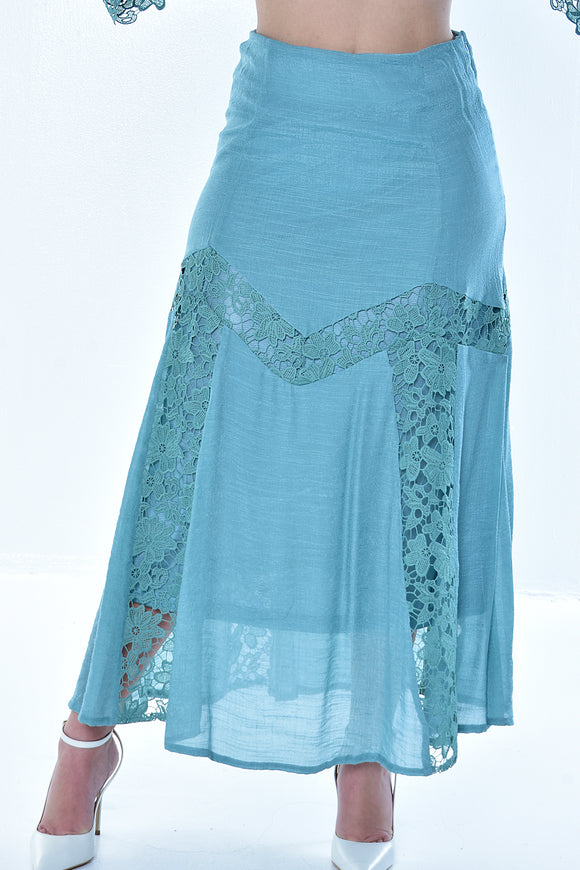 Azucar Ladies White & Sage Laced & Lined Long Skirt - Lrpk956