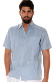 Bohio Guayabera Shirt For Men - Classic Linen Chacavana (4) Pocket Short Sleeve (10) Colors - Ls499