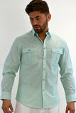 Bohio Mens Cotton Casual (2) Pocket Long Sleeve Shirt In (3) Colors - Mcs470