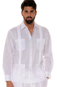 Bohio Guayabera Shirt for Men - Classic Linen Chacavana 4-Pkt. Long Sleeve (8) Colors- MLS501