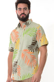 Bohio Mens Linen Tropical Print Casual Short Sleeve (1) Pocket Button Down Shirt - Mlsp1188